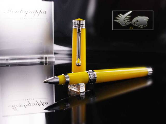 Montegrappa Parola Rollerball Pen in Yellow Resin ISWOTRAY