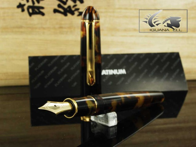 Platinum Fountain Pen Celluloid #62 Tortoise -Gold Plated- PTB30000S